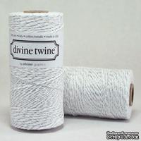 Хлопковый шнур от Divine Twine - Silver  Metallic, 1 мм, цвет серебряный/белый, 1м