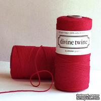 Хлопковый шнур от Divine Twine - Red Solid, 1 мм, цвет красный, 1м