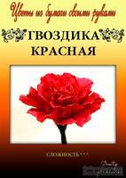 Набор тутовой бумаги для создания цветов - гвоздика красная
