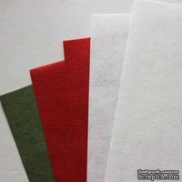 Набор тутовой бумаги # 01, красный, белый, зеленый, 5 листов, формат А4