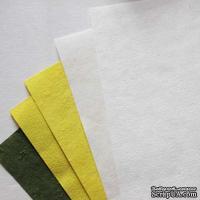 Набор тутовой бумаги # 02, желтый, белый, зеленый, 5 листов, формат А4
