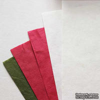 Набор тутовой бумаги # 03, красный, белый, зеленый, 5 листов, формат А4