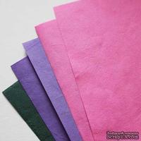 Набор тутовой бумаги # 05, сиреневый, розовый, зеленый, 5 листов, формат А4