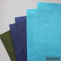 Набор тутовой бумаги # 06, синий, голубой, зеленый, 5 листов, формат А4