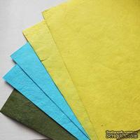 Набор тутовой бумаги # 07, голубой, желтый, зеленый, 5 листов, формат А4