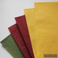 Набор тутовой бумаги # 08, бордовый, желтый, зеленый, 5 листов, формат А4