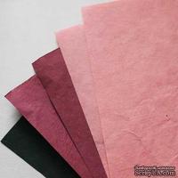 Набор тутовой бумаги # 09, розовый, гранатовый, темно-зеленый, 5 листов, формат А4