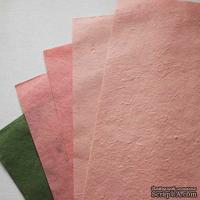 Набор тутовой бумаги #10, розовый, нежно-розовый, зеленый, 5 листов, формат А4