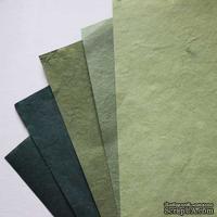 Набор тутовой бумаги #11, оттенки зеленого, 5 листов, формат А4