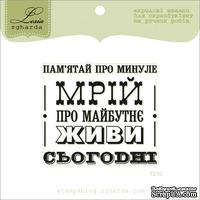 Акриловый штамп Lesia Zgharda T210 Пам'ятай про минуле, мрій про майбутнє, живи сьогодні, размер 5,7х5 см.