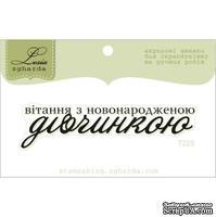 Акриловый штамп Lesia Zgharda T228 Вітання з новонародженою дівчинкою, размер 6,7х1,6 см.