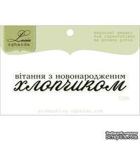 Акриловый штамп Lesia Zgharda T229 Вітання з новонародженим хлопчиком, размер 6,7х1,1 см.