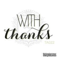 Акриловый штамп Lesia Zgharda TA022 WITH thanks, размер 4х2 см