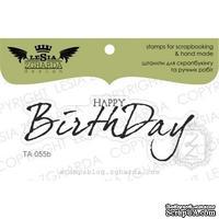 Акриловый штамп Lesia Zgharda TA055b Happy birthday, размер 6,4x2,4 см
