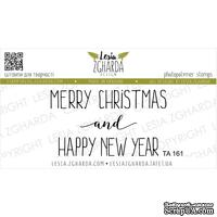 Акриловый штамп Lesia Zgharda TA161 Merry Christmas and Happy New Year, размер 9х3 см