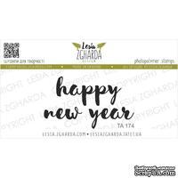 Акриловый штамп Lesia Zgharda TA174 Happy new year, размер 4.6х2.7 см