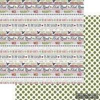 Лист двусторонней бумаги Teresa Collins - Candy Cane Lane - Word Art, размер 30х30 см