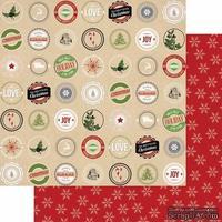 Лист двусторонней бумаги Teresa Collins - Candy Cane Lane - Labels, размер 30х30 см