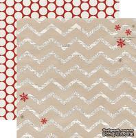 Лист двусторонней скрапбумаги Teresa Collins Designs - Santa's List - Chevron, размер 30х30 см.