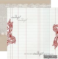 Лист двусторонней скрапбумаги Teresa Collins Designs - Santa's List - Ledger, размер 30х30 см.