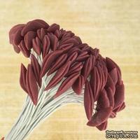 Тычинки для лилии на проволоке, цвет коричнево-бордовый, 5 шт.