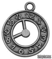 """Металлическое украшение """"Часики"""", античное серебро, размер 21х18 мм, 1 шт"""