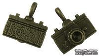 "Металлическое украшение ""Фотоаппарат"", античная бронза, размер 22х20 мм, 1 шт"
