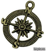 "Металлическое украшение ""Компас"", античная бронза, размер 30х25 мм, 1 шт."