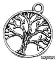 """Металлическое украшение """"Дерево"""", античное серебро, размер 24х20 мм, 1 шт"""