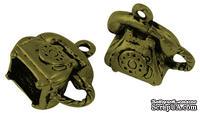 """Металлическое украшение """"Телефон"""", античная бронза, размер 15х14 мм, 1 шт"""