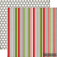 Лист скрапбумаги от Echo Park - Holiday Stripe, 30х30 см