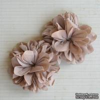 Винтажные тканевые цветочки от Maya Road - Antique Mocha, цвет бежевый, 2 шт.