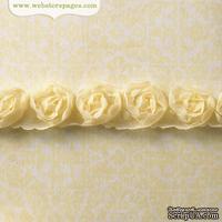 Лента с розами Webster's Pages - Butter Rosette, размер: ширина 1.5 см, длина 30 см