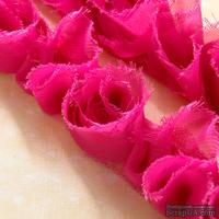 Лента с цветами Webster's Pages - Bloomer Pink, ширина 3,5-4 см, длина 30 см