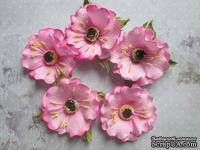 Дикий мак из фоамирана,  диаметр 5 см, цвет розовый, 1 шт.