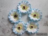 Дикий мак из фоамирана,  диаметр 5 см, цвет голубой, 1 шт.