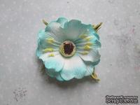 Дикий мак из фоамирана,  диаметр 5 см, цвет бирюзовый, 1 шт.