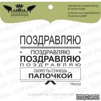 Акриловый штамп Lesia Zgharda TRU232 Поздравляю..., размер 5,9х4,8 см