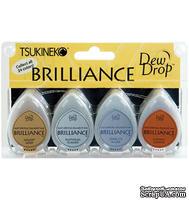 Набор чернил для штампинга Tsukineko - Brilliance Dew Drops - Planetarium, 4 штуки