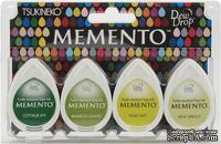 Набор чернил для штампинга Tsukineko - Memento Dew Drops - Greenhouse, 4 шт.