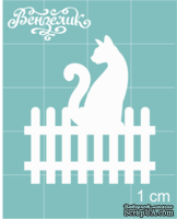 Чипборд от Вензелик - Котик на заборе, размер: 30x34 мм