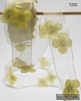 Лента с цветочком Flowers and Pearl, цвет: зеленый, ширина 38,1 мм, 90 см