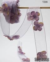 Лента с цветочком Flowers and Pearl, цвет: лавандовый, ширина 38,1 мм, 90 см