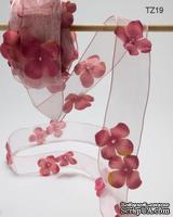 Лента с цветочком Flowers and Pearl, цвет: розово-лиловый, ширина 38,1 мм, 90 см
