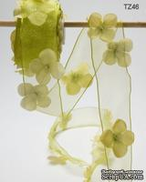 Лента с цветочком Flowers and Pearl, цвет: салатовый, ширина 38,1 мм, 90 см