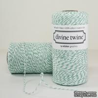 Хлопковый шнур от Divine Twine - Aqua, 1 мм, цвет бирюза/белый, 1 м