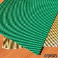 Картон гофрированный мелкий,  плотность 300г, размер 20х30см, цвет темно-зеленый