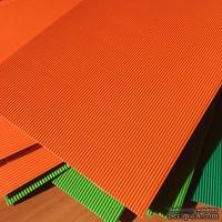 Картон гофрированный мелкий,  плотность 300г, размер 20х30см, цвет оранжевый