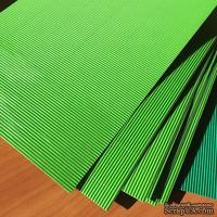 Картон гофрированный мелкий,  плотность 300г, размер 20х30см, цвет светло-зеленый