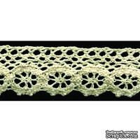 Кружево вязаное, цвет бежевый, ширина 28 мм, длина 90 см